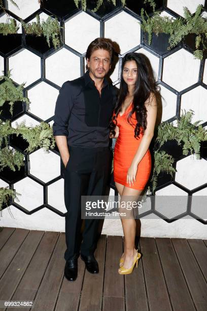Bollywood actor Shah Rukh Khan with daughter Suhana during lunch party hosted by Gauri Khan at restaurant Arth on June 18 2017 in Mumbai India The...