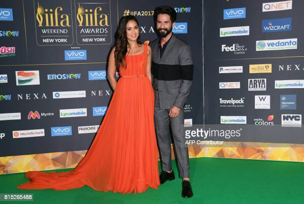 Bollywood actor Shahid Kapoor and wife Mira Rajput arrive for the IIFA Awards July 15 2017 at the MetLife Stadium in East Rutherford New Jersey...