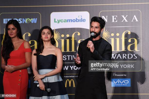 Bollywood actor Shahid Kapoor speaks as Alia Bhatt and Katrina Kaif listen during a press conference ahead of the 18th International Indian Film...