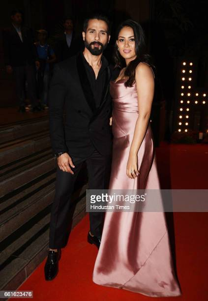 Bollywood actor Shahid Kapoor with his wife Mira Rajput spotted during the awards function at Taj Lands End Bandra on March 28 2017 in Mumbai India