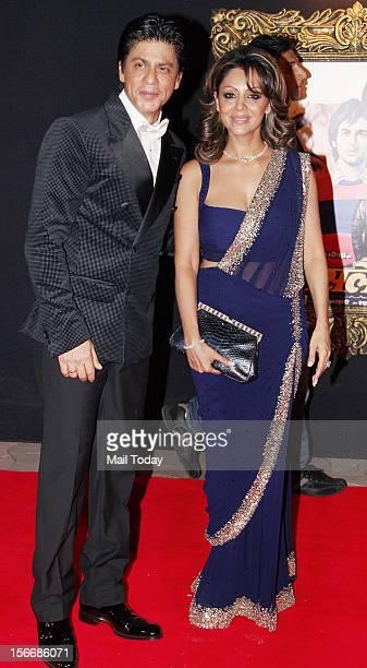 Bollywood actor Shahrukh Khan and Gauri Khan at the grand premiere of Yash Chopra film Jab Tak ai Jaan at YRF Studios in Mumbai on Monday