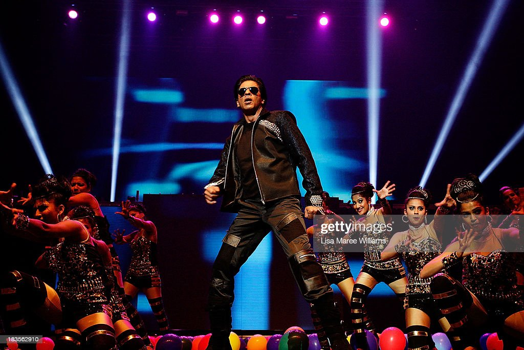 Bollywood Actor Shahrukh Khan performs live for fans at Allphones Arena on October 7, 2013 in Sydney, Australia. This performance of 'Temptation Reloaded' is part of Parramatta's Parramasala Festival 2013.