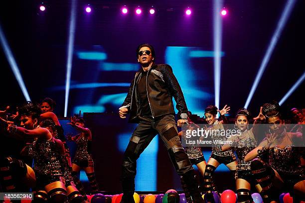 Bollywood Actor Shahrukh Khan performs live for fans at Allphones Arena on October 7 2013 in Sydney Australia This performance of 'Temptation...