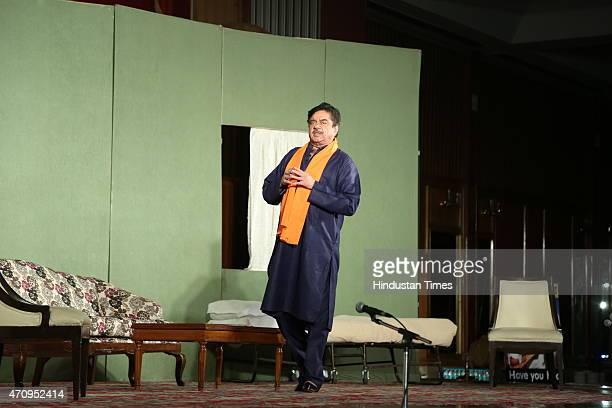 Bollywood actor Shatrughan Sinha performs during the onstage comic play Pati Patni aur Main on April 19 2015 in New Delhi India