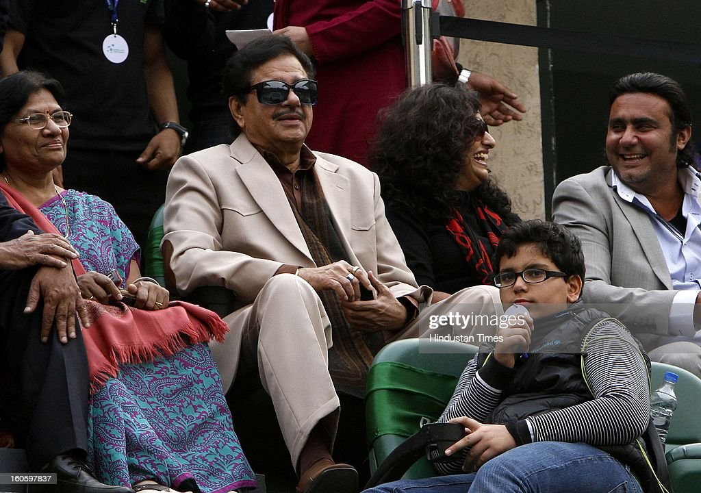 Bollywood actor Shatrughan Sinha watching Davis Cup reverse single match between Vijayanth Malik of India and Nam Jisung of Korea at Delhi Lawn Tennis Association stadium on February 3, 2013 in New Delhi, India.