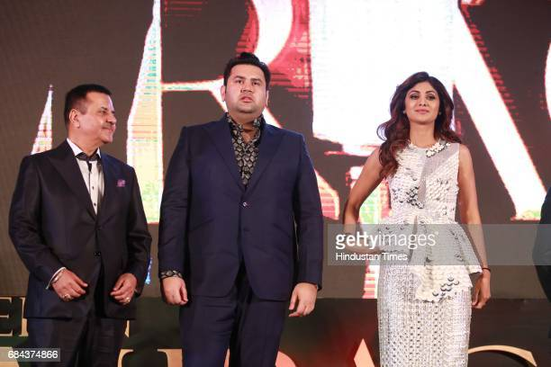 Bollywood actor Shilpa Shetty with Rakesh Kapoor Elan Group Chairman and Director Akash Kapoor during the launch of prestigious project Elan Miracle...