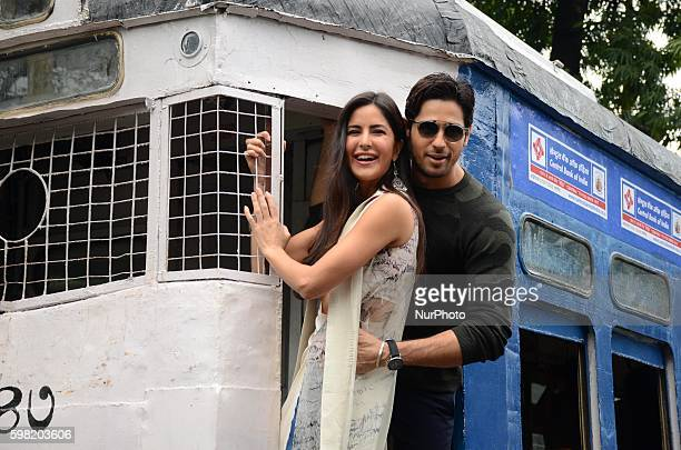Bollywood actor Sidharth Malhotra and actress Katrina Kaif travelling on tram during the promotion of film Baar Baar Dekho in Kolkata India on 31st...