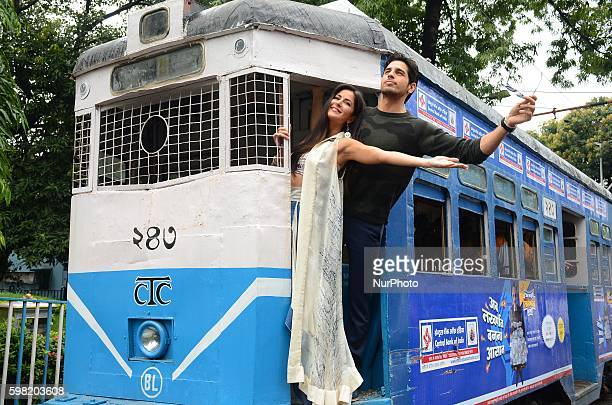 Bollywood actor Sidharth Malhotra and actress Katrina Kaif travelling on tram during the promotion of film Baar Baar Dekho in Kolkata India on 31st...