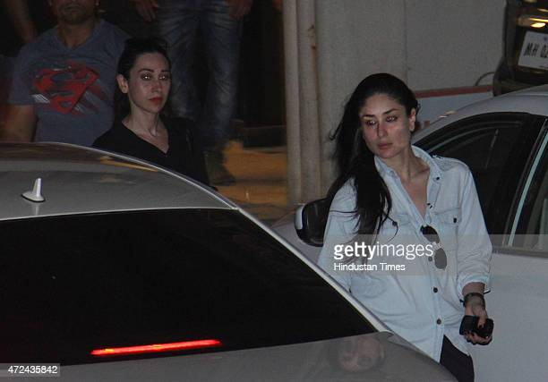 Bollywood actor sisters Kareena Kapoor Khan and Karisma Kapoor leave after meeting with Salman Khan at his residence a day after verdict in hit and...