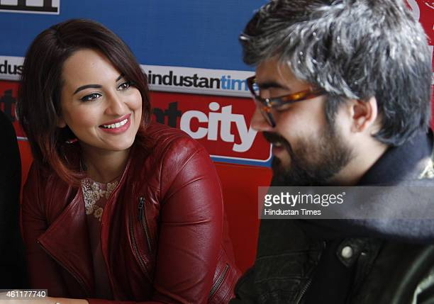 Bollywood actor Sonakshi Sinha and director Amit Sharma during an exclusive interview for their upcoming movie Tevar at HT Media Office on January 05...