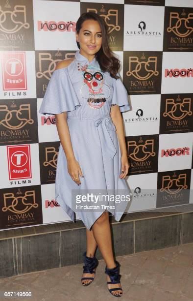 Bollywood actor Sonakshi Sinha during the song launch of Gulabi 20 from upcoming film Noor at Bombay cocktail Bar Andheri West on March 22 2017 in...