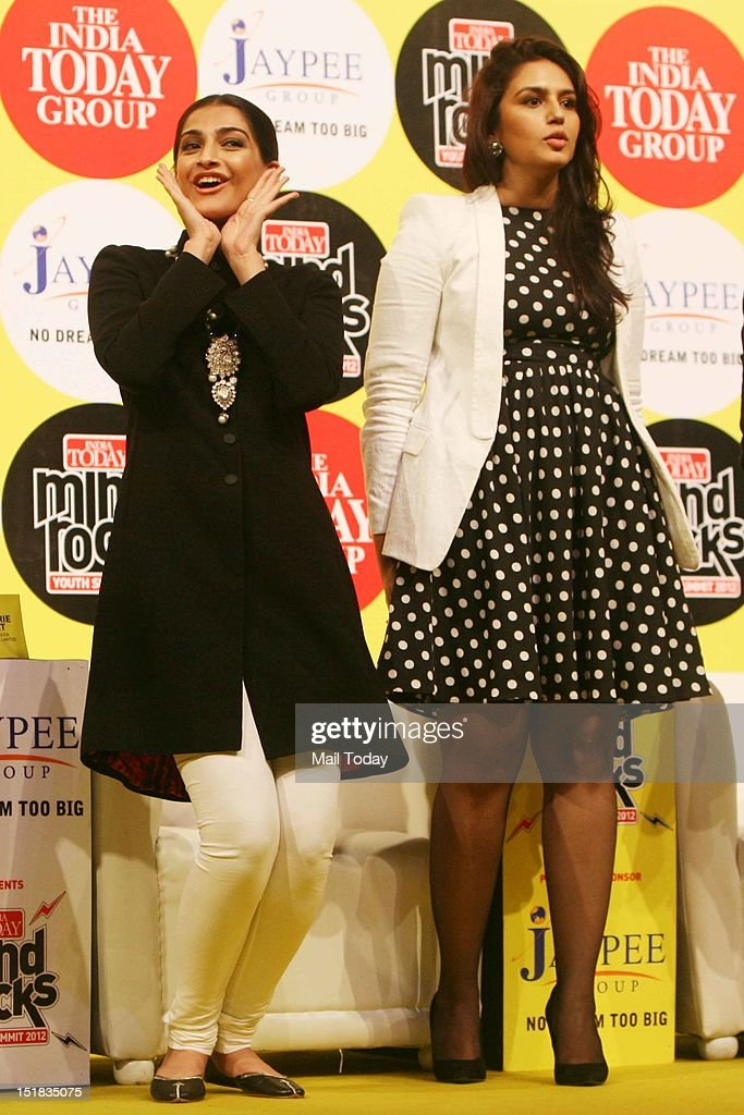 Bollywood actor Sonam Kapoor and Huma Qureshi during the India Today Mind Rocks Youth Summit 2012 in New Delhi on Friday.