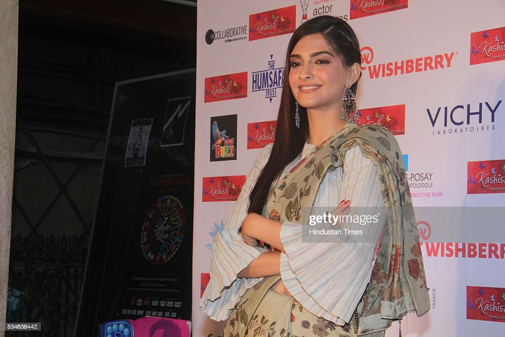 Bollywood actor Sonam Kapoor during the opening ceremony of the 7th Kashish Mumbai International Queer Film Festival inaugurated by Hollywood actor Ian McKellen, at Liberty Cinema, Marine Lines, on May 25, 2016 in Mumbai, India. During a ceremony, McKellen said, 'I just want to say how happy I am to be at Kashish; it's my first visit to Mumbai. I made many friends already and I hope this evening to make many more. I've come to Mumbai to celebrate Shakespeare and to celebrate the connections between the United Kingdom and your country. And I've also come to support those who want to get rid of section 377 (which criminalizes homosexuality).'