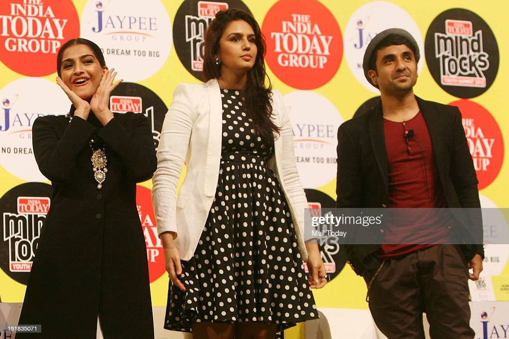 Bollywood actor Sonam Kapoor, Huma Qureshi and Vir Das during the India Today Mind Rocks Youth Summit 2012 in New Delhi on Friday.