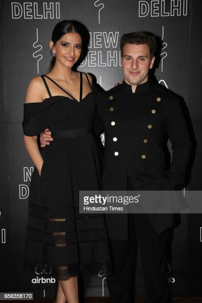 Bollywood actor Sonam Kapoor with Airbnb CEO Brian Chesky during a special show curated by designer duo Shantanu Nikhil for the travel platform...