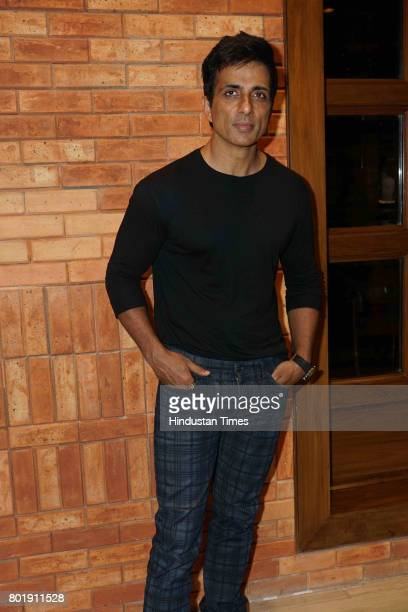 Bollywood actor Sonu Sood during the birthday party of actor Aftab Shivdasani at the Taj Lands End Hotel in Bandra on June 25 2017 in Mumbai India