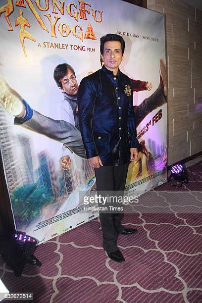 Bollywood actor Sonu Sood during the party by Hollywood actor Jackie Chan at JW Marriot on January 23 2017 in Mumbai India Jackie Chan is in India to...