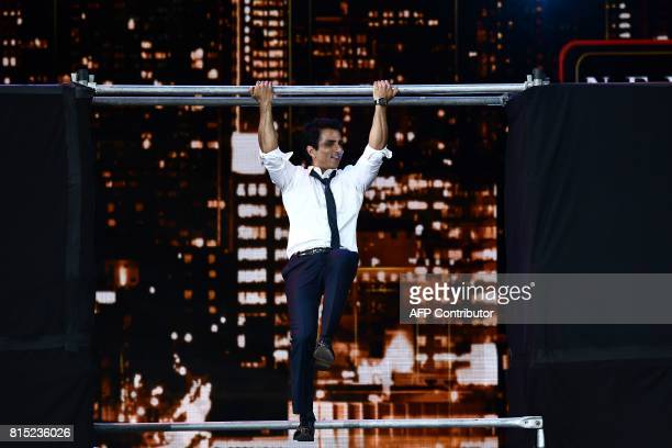 Bollywood actor Sonu Sood performs on stage during 18th International Indian Film Academy Festival at the MetLife Stadium in East Rutherford New...