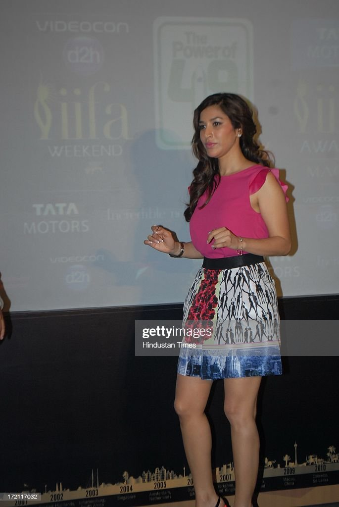 Bollywood actor Sophie Chaudhary during the IIFA 2013 Press Conference at PVR Andheri on July 1, 2013 in Mumbai, India. At a press conference on Monday, July 1, the International Indian Film Academy (IIFA) announced the performances that will be held at their annual weekend awards ceremony in Macau. Boman and Vir will host the IIFA Rocks event, while Shah Rukh Khan and Shahid Kapoor will compere the IIFA awards ceremony.