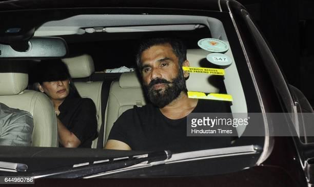Bollywood actor Suniel Shetty along with wife Mana Shetty spotted at the screening of upcoming movie 'Rangoon' at Yashraj Studio Andheri on February...