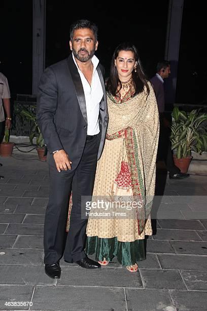 Bollywood actor Suniel Shetty and wife Mana Shetty during the wedding reception of Bollywood filmmaker Smita Thackeray's son Rahul Thackeray and...