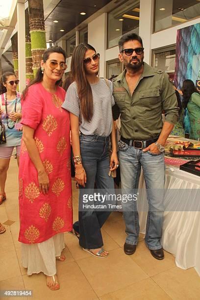 Bollywood actor Suniel Shetty with wife Mana Shetty and daughter and actor Athiya Shetty at Mana Shetty's designer store anniversary celebrations at...