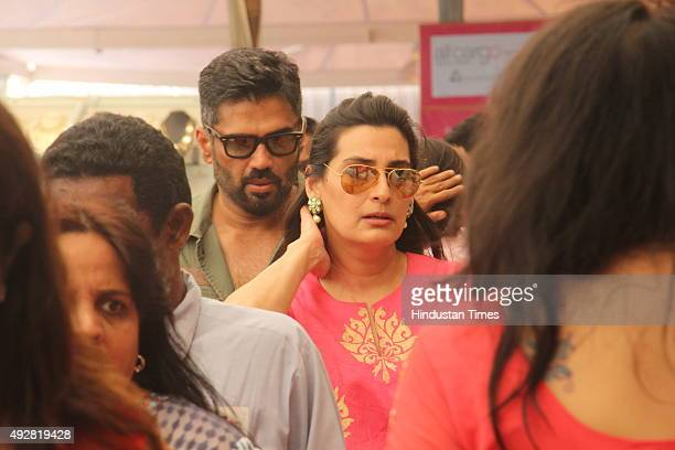 Bollywood actor Suniel Shetty with wife Mana Shetty at her designer store anniversary celebrations at Araaish Exhibition centre at Blue Sea Worli on...