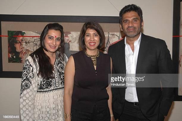 Bollywood actor Sunil Shetty and his wife Mana Shetty with artist Jaya Lamba during the Jaya Lamba's Art exhibition at Gallery Art Soul Worli on...