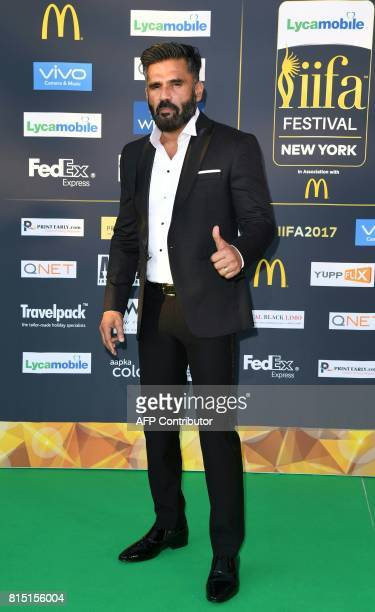 Bollywood Actor Sunil Shetty arrives for the IIFA Awards July 15 2017 at the MetLife Stadium in East Rutherford New Jersey during the 18th...