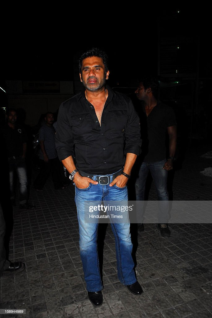 Bollywood actor Sunil Shetty attending special screening hosted by Ritesh Deshmukh for his first home production Marathi film 'Balak Palak' at PVR Juhu on January 2, 2012 in Mumbai, India.