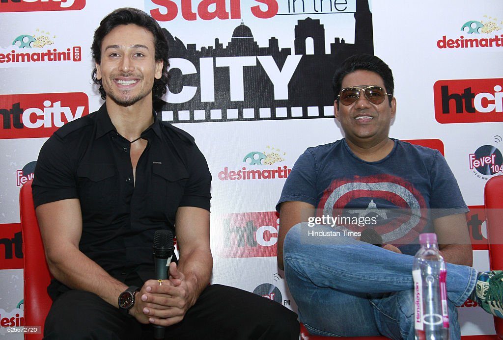 Bollywood actor Tiger Shroff and film director Sabbir Khan during an interview for promotion of upcoming movie Baaghi at HT Media office on April 26, 2016 in New Delhi, India.