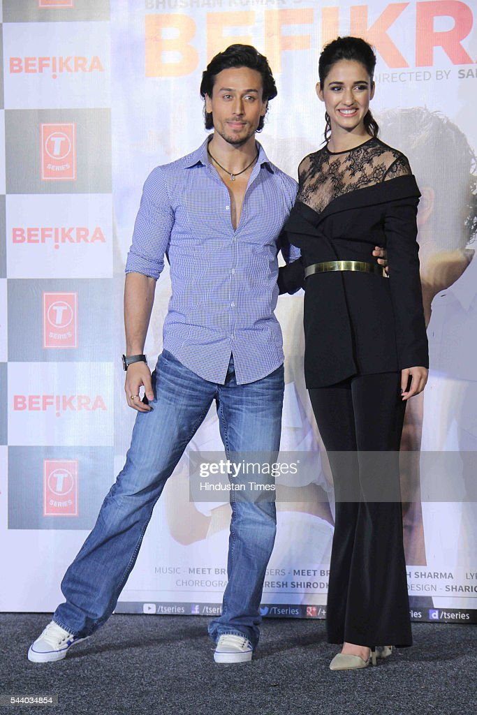 Bollywood actor Tiger Shroff with model and actor Disha Patani during the launch of single album Befikra, on June 28, 2016 in Mumbai, India.