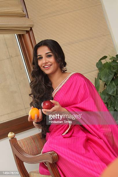 Bollywood Actor Vidya Balan at a promotional event for Aliva's 'Upar Se Tasty Andar Se Healthy' campaign at Taj Mansingh hotel on May 24 2012 in New...