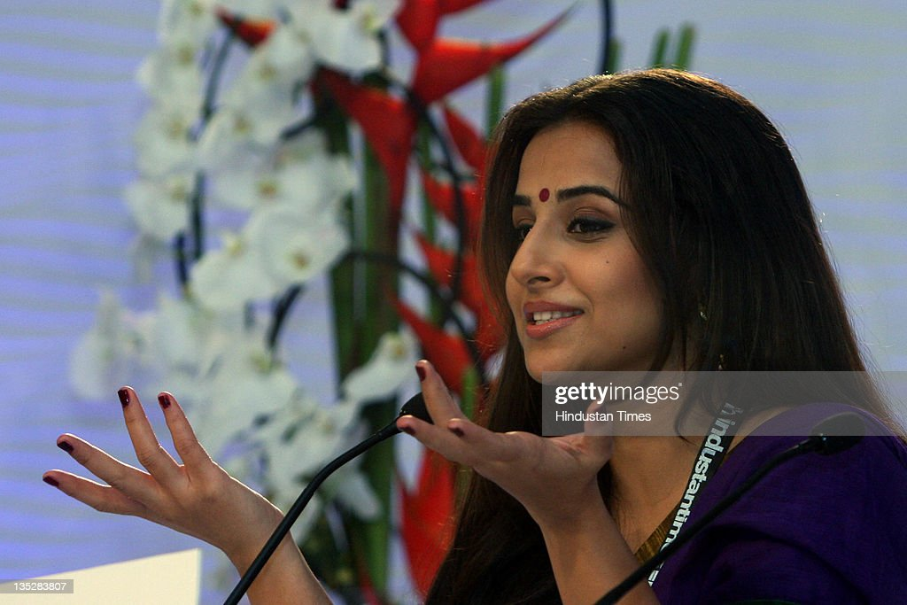 Bollywood Actor <a gi-track='captionPersonalityLinkClicked' href=/galleries/search?phrase=Vidya+Balan&family=editorial&specificpeople=563348 ng-click='$event.stopPropagation()'>Vidya Balan</a> expressing herself during the second day of Hindustan Times Leadership Summit 2011 at The Taj Palace Hotel on on December 3, 2011 in New Delhi, India.