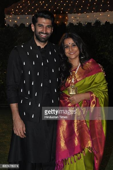 Bollywood actor Vidya with brotherinlaw Aditya Roy Kapur during wedding reception of Trishya Screwvala daughter of media tycoon and philanthropist...