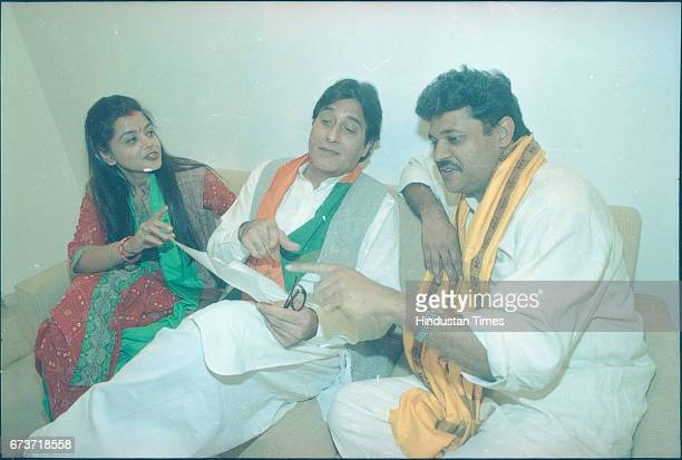 Bollywood actor Vinod Khanna and Kirti Azad on November 13 1998 in Punjab India Veteran actor and sitting BJP MP Vinod Khanna passed away at the age...