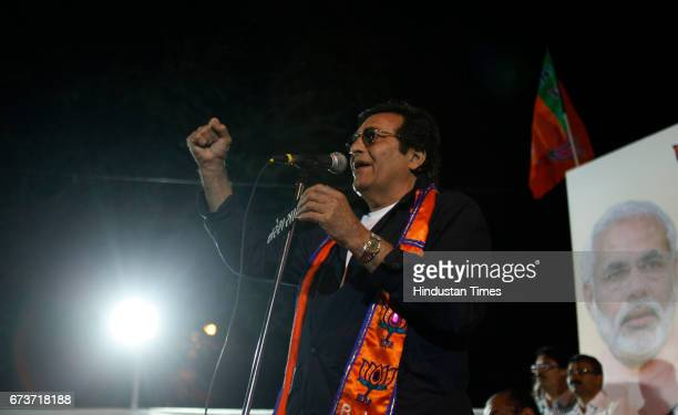 Bollywood actor Vinod Khanna at public rally as Gujarat state goes for second phase of voting for the General Assembly at Diwalipura in Baroda...