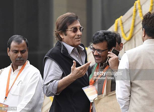 Bollywood actor Vinod Khanna during a party's National Executive meet on March 19 2016 in New Delhi India The twoday meeting will discuss current...
