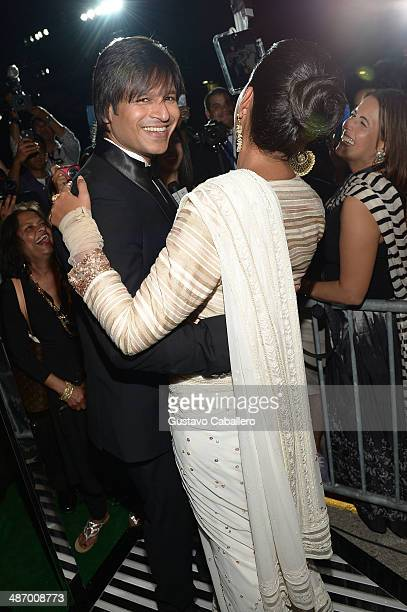 Bollywood actor Vivek Oberoi and his wife pose in the Vine 360 Booth at the IIFA Awards at Raymond James Stadium on April 26 2014 in Tampa Florida
