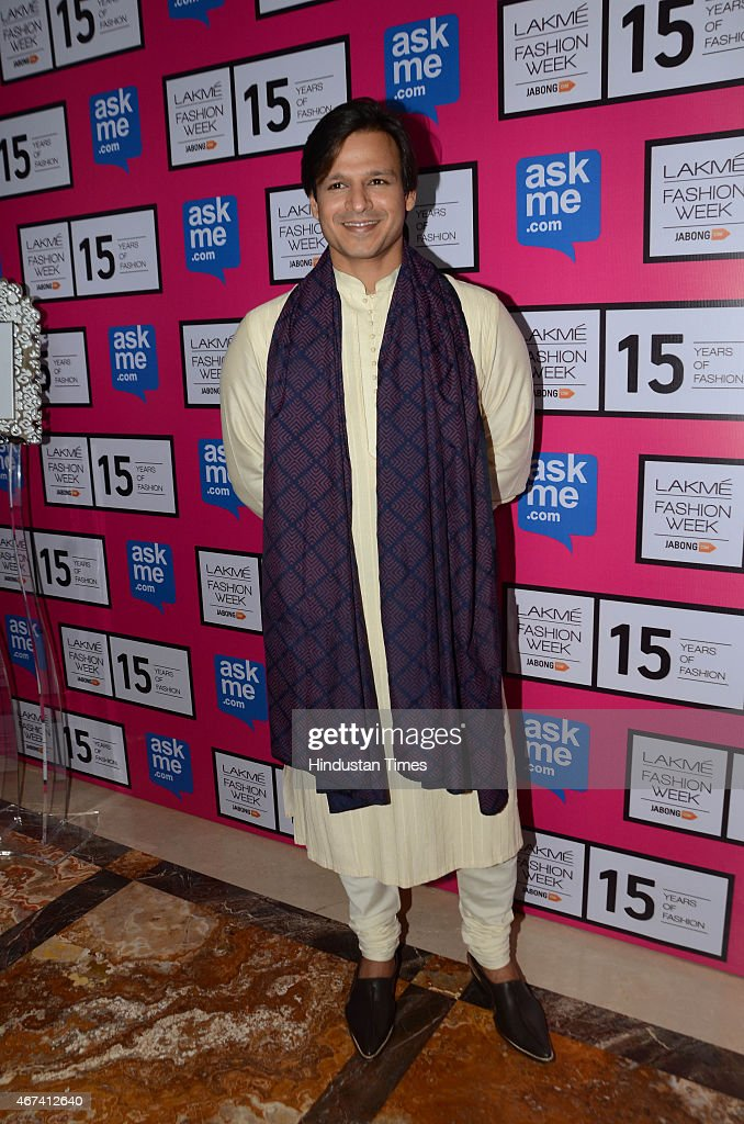 Bollywood actor <a gi-track='captionPersonalityLinkClicked' href=/galleries/search?phrase=Vivek+Oberoi&family=editorial&specificpeople=627274 ng-click='$event.stopPropagation()'>Vivek Oberoi</a> at Lakme Fashion Week Summer/Resort 2015 on March 19, 2015 in Mumbai, India.