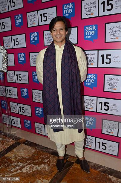 Bollywood actor Vivek Oberoi at Lakme Fashion Week Summer/Resort 2015 on March 19 2015 in Mumbai India