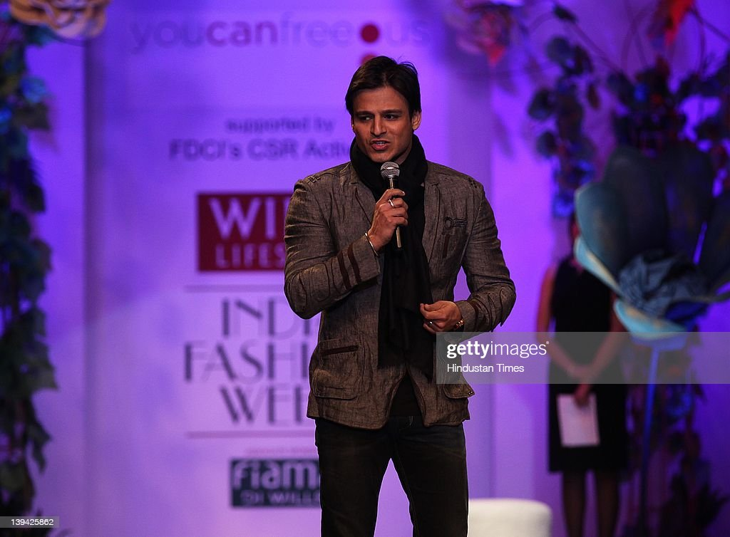 Bollywood actor <a gi-track='captionPersonalityLinkClicked' href=/galleries/search?phrase=Vivek+Oberoi&family=editorial&specificpeople=627274 ng-click='$event.stopPropagation()'>Vivek Oberoi</a> speaking during You Can Free Us Show at Wills Lifestyle India Fashion Week - Autumn Winter 2012 held at Pragati Maiden on February 17, 2012 in New Delhi, India. India's top designers, comprising Manish Arora, Suneet Verma, JJ Valaya, Rajesh Pratap Singh, Rohit Gandhi and Rahul Khanna, Ashish Soni, Lecoanet- Hemant, Ravi Bajaj, Ritu Beri Tarun Tahiliani, Shantanu and Nikhil and Ashima-Leena designed an outfit each to support the cause of human trafficking.