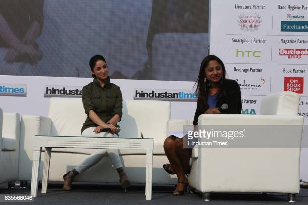 Bollywood actor Yami Gautam during the Hindustan Times Palate and Imagine Fest 2017 at Nehru Park on February 12 2017 in New Delhi India The...