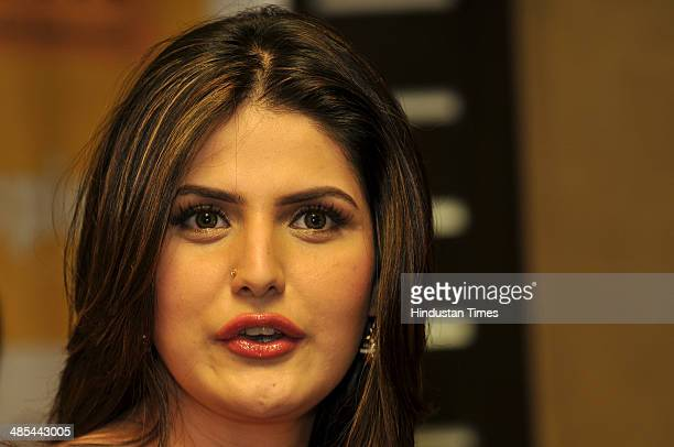 Bollywood actor Zarine Khan during the promotion of her film 'Jatt James Bond' at Spice Mall on April 17 2014 in Noida India Jatt James Bond is an...
