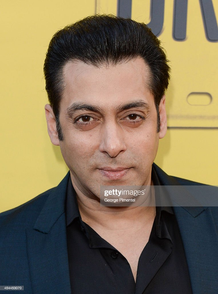 Bollywood actor/producer <a gi-track='captionPersonalityLinkClicked' href=/galleries/search?phrase=Salman+Khan+-+Actor&family=editorial&specificpeople=558807 ng-click='$event.stopPropagation()'>Salman Khan</a> arrives at the Canadian Premiere of 'Dr Cabbie' held at Scotiabank Theatre on August 31, 2014 in Toronto, Canada.