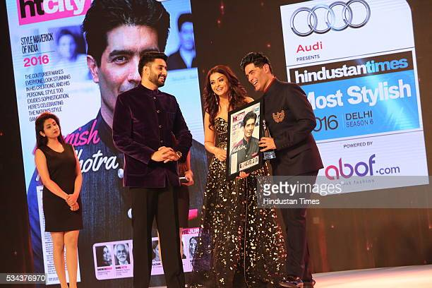 Bollywood actors Abhishek Bachchan Aishwarya Rai Bachchan and designer Manish Malhotra during the sixth edition of Hindustan Times Most Stylish...