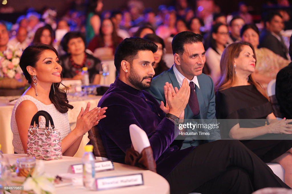 Bollywood actors Abhishek Bachchan and Akshay Kumar during a sixth edition of Hindustan Times Most Stylish Awards 2016 at Hotel JW Marriot, Aerocity on May 24, 2016 in New Delhi, India.