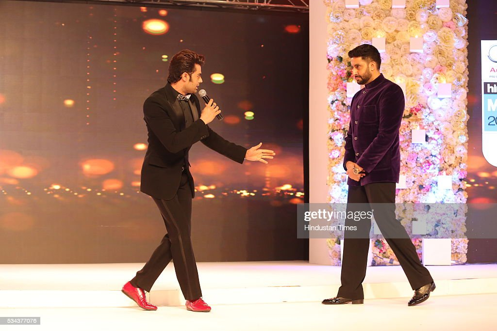 Bollywood actors Abhishek Bachchan and Manish Paul during a sixth edition of Hindustan Times Most Stylish Awards 2016 at Hotel JW Marriot, Aerocity on May 24, 2016 in New Delhi, India.