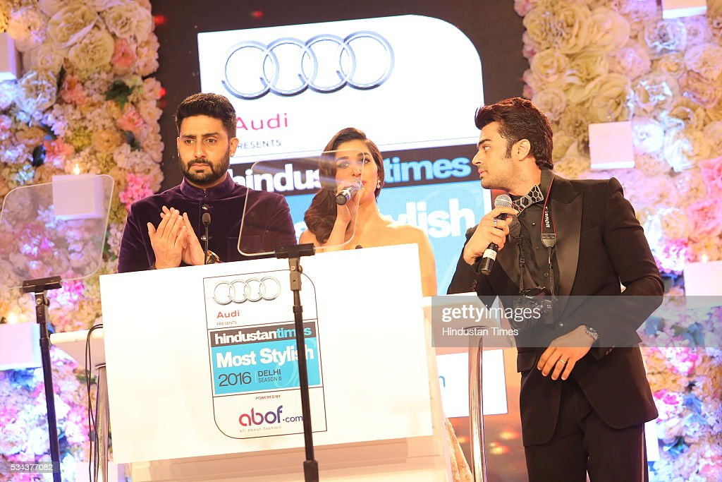 Bollywood actors Abhishek Bachchan, Manish Paul with singer Sophie Choudry during a sixth edition of Hindustan Times Most Stylish Awards 2016 at Hotel JW Marriot, Aerocity on May 24, 2016 in New Delhi, India.