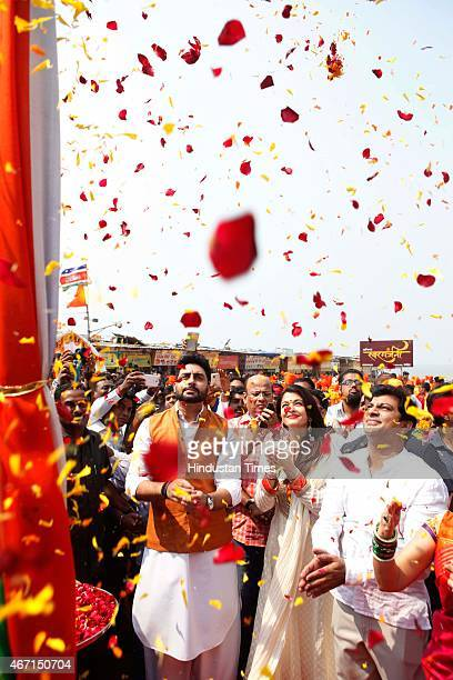 Bollywood actors Aishwariya Rai and Abhishek Bachchan graced the occasion also performed a small puja on the auspicious occasion of Gudi Padwa where...